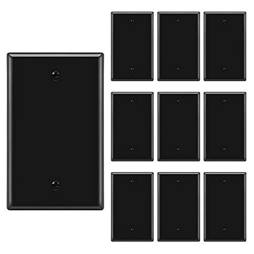 [10 Pack] BESTTEN 1-Gang No Device Blank Wall Plate, Standard Size, Unbreakable Polycarbonate Thermoplastic, UL Listed, Black