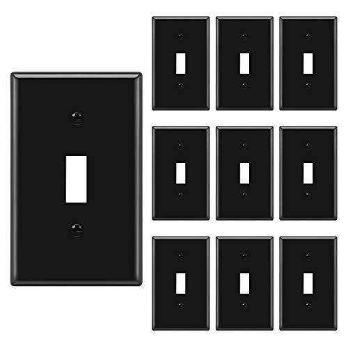 [10 Pack] BESTTEN 1-Gang Toggle Wall Plate, Standard Size, Unbreakable Polycarbonate Outlet and Switch Cover, UL Listed, Black