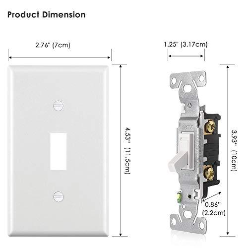 [10 Pack] BESTTEN Single Pole Toggle Light Switch, 15A 120-277V, Commercial and Residential Use, cUL Listed, White