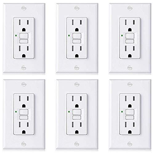 [6 Pack] BESTTEN 15A Self-Test GFCI with TR, USG5 Slim Series, Tamper-Resistant Receptacle with LED Indicator, Wallplate Included, White