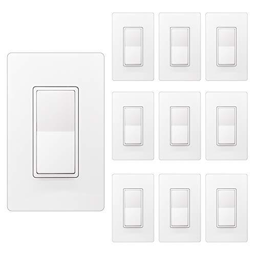 [10 Pack] BESTTEN Single Pole Decorator Wall Light Switch, 15A 120/277V, On/Off Rocker Paddle Interrupter, Screwless Wallplate Included, cUL Listed, White