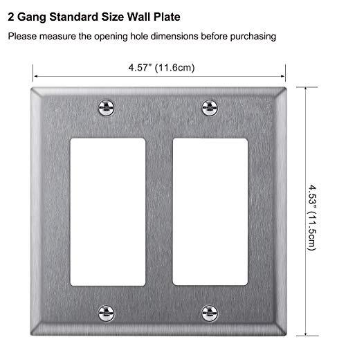 [2 Pack] BESTTEN 2-Gang Decorator Metal Wall Plate, Standard Size, Stainless Steel Outlet Cover, Industrial Grade 304SS, Screw Included, Silver