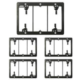[5 Pack] BESTTEN 3-Gang Old Work Low Voltage Mounting Bracket, for Telephone Wires, Coaxial Cable, HDMI/HDTV Cable, Speaker Wire, Network/Phone Cable and More, Standard Size H 4.25(inches)x W 6.0(inches) Black