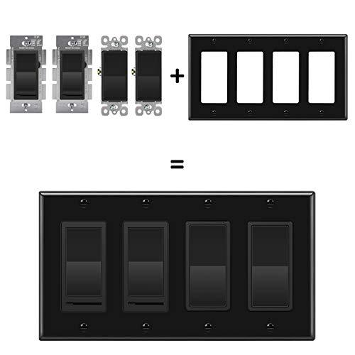 [2 Pack] BESTTEN 4 Gang Decorator/GFCI Wall Plate, Standard Size, Unbreakable Polycarbonate Outlet and Switch Cover, Device Mount, UL Listed, Black