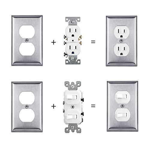 [10 Pack] BESTTEN Duplex Outlet Metal Wall Plate, 1-Gang Stainless Steel Outlet Cover, Durable Corrosion Resistant, Industrial Grade 304 Material