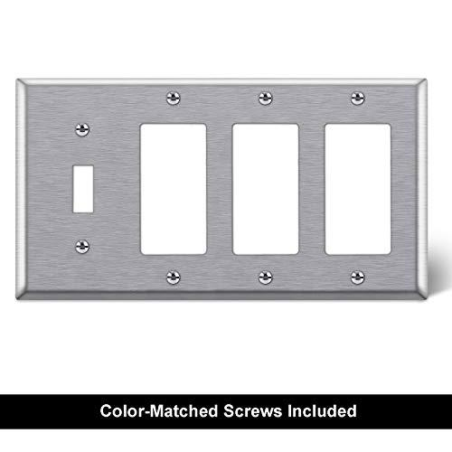 [2 Pack] BESTTEN 4-Gang Combination Metal Wall Plate, 3-Decor/1-Toggle, 430 Stainless Steel Outlet and Switch Cover, Corrosive Resistant, Standard Size, Silver, UL Listed