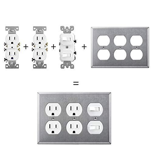 BESTTEN 3-Gang Stainless Steel Wall Plate for Duplex Receptacle Outlet, Standard Size 4.53 inchx 6.38 inch Heavy Duty Metal Switch Cover, Industrial Grade 304SS, Silver