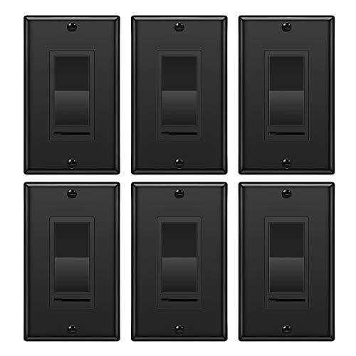 [6 Pack] BESTTEN Dimmer Wall Light Switch, Single Pole or 3 Way, 120VAC, for Dimmable LED, CFL, Halogen and Incandescent Bulb, cUL Listed, Black