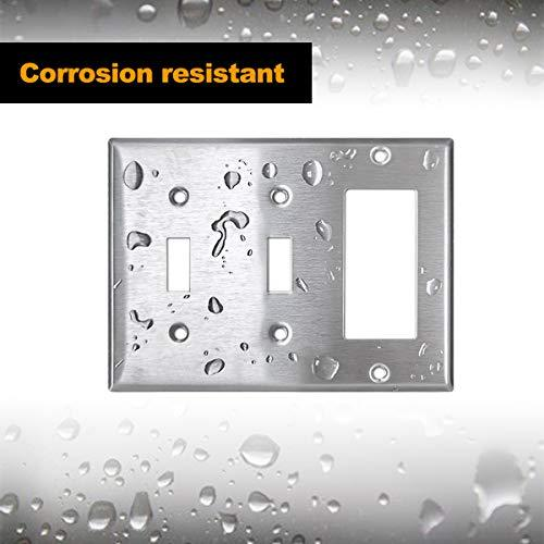 [2 Pack] BESTTEN 3-Gang Combination Metal Wall Plate, 2-Toggle/1-Decor, Standard Size, Anti-Corrosion 430 Stainless Steel Outlet and Switch Cover, UL Listed, Silver