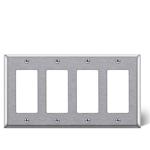"BESTTEN 4-Gang Decorator Metal Wall Plate, Standard Size 4.5"" x 8.187"", 430 Stainless Steel Outlet Cover, UL listed, Silver"