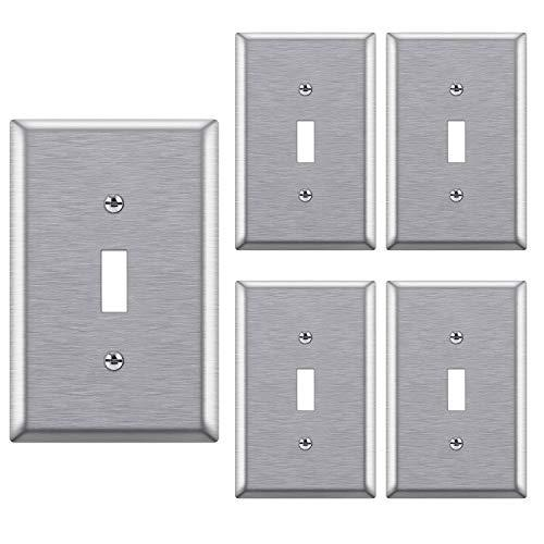 [5 Pack] BESTTEN 1-Gang Mid-Size Metal Wall Plate, Anti-Corrosion Stainless Steel Toggle Switch Cover, Screws Included, Silver, UL Listed