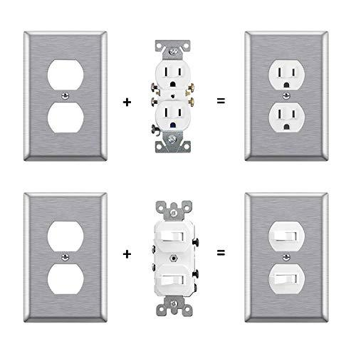 [5 Pack] BESTTEN 1-Gang Over-Size Duplex Receptacle Metal Wall Plate, Anti-Corrosion Stainless Steel Outlet Cover, Silver, UL/cUL Listed