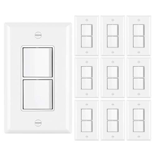[10 Pack] BESTTEN Double Light Switch, Single Pole Combination Interrupter, 15A 120V, Dual Control Paddle Rocker, Residential & Commercial Use, cUL Listed, White
