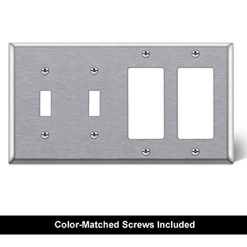 [2 Pack] BESTTEN 3-Gang Combination Metal Wall Plate, 2-Decorator/1-Toggle, Standard Size, Anti-Corrosion 430 Stainless Steel Outlet and Switch Cover, UL Listed, Silver