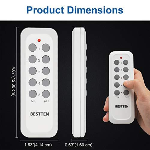 Wireless Remote Controller, Compatible with BESTTEN Remote Control Outlet, Easy to Program, 5 Channels, Self-Learning Code, 12V/23A Battery Included, White