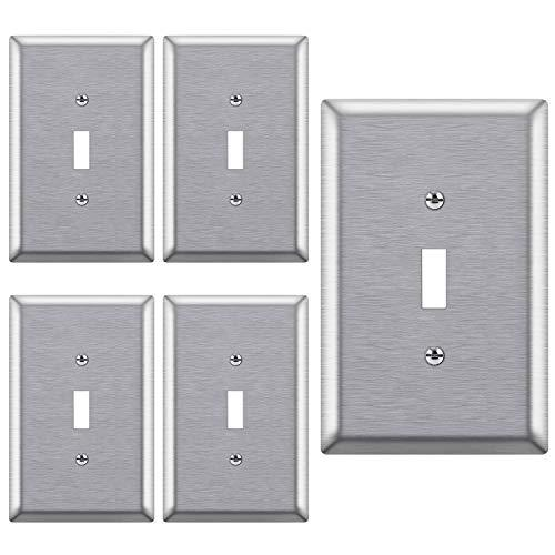 [5 Pack] BESTTEN 1-Gang Over-Size Metal Wall Plate, Stainless Steel Toggle Switch Cover, Durable Corrosion Resistant, Silver, UL Listed