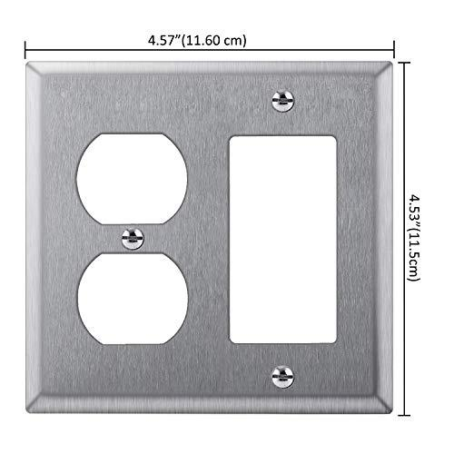 [2 Pack] BESTTEN 2-Gang Combination Metal Wall Plate, 1-Duplex/1-Decor, Anti-Corrosion Stainless Steel Outlet and Switch Cover, Industrial Grade 304SS, Standard Size, Silver