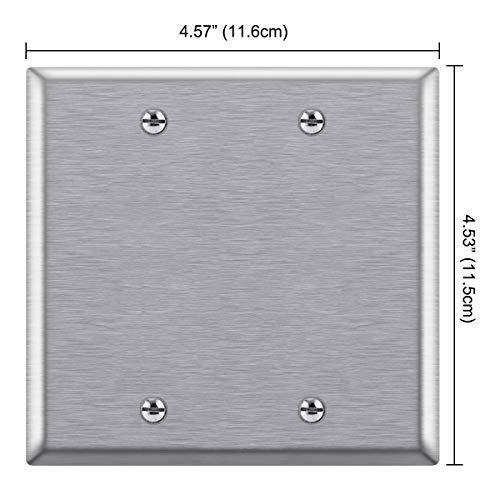[5 Pack] BESTTEN 2-Gang No Device Blank Metal Wall Plate, Anti-Corrosion Stainless Steel Outlet Cover, Industrial Grade 304SS, Standard Size, Color Matched Screw Included, Silver