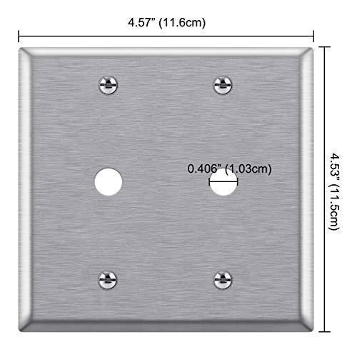 [2 Pack] BESTTEN 2-Gang Metal Wall Plate for Telephone/Cable, Anti-Corrosion Stainless Steel Outlet Cover, Industrial Grade 430SS, Standard Size, Silver, UL listed