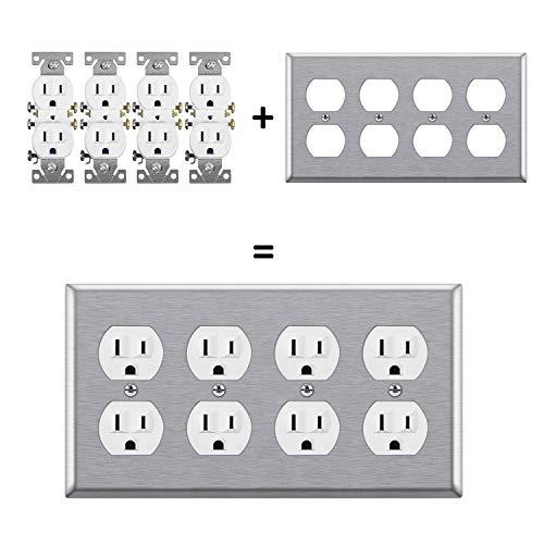 "[2 Pack] BESTTEN 4-Gang Metal Wall Plate for Duplex Receptacle Outlet, Standard Size 4.5"" x 8.187"", Stainless Steel Heavy Duty Switch Cover, Industrial Grade 430SS, Silver"