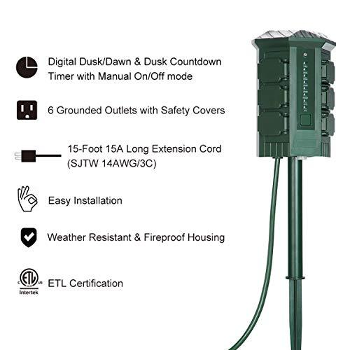 BESTTEN Outdoor Power Stake with Electronic Countdown Timer, 15ft Ultra Long Heavy Duty Extension Cord, 6 Grounded Outlet Power Strip with Weatherproof Covers, Accurate Digital Control Timer