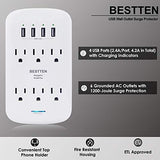 BESTTEN 1200-Joule Wall Charger Surge Protector, 4 USB Charging Port (4.2A Totally), 6 AC Outlets, Top Phone Holder and LED Indicators, cETL Certified, White