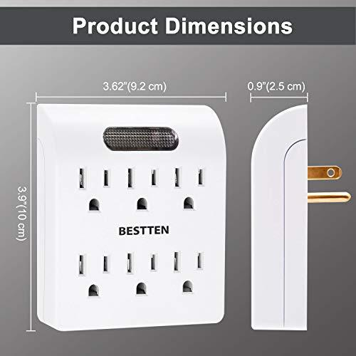 [4 Pack] BESTTEN 6-Outlet Wall Adapter with Dusk to Dawn LED Indicator, 15A/125V/1875W, cETL Listed, White