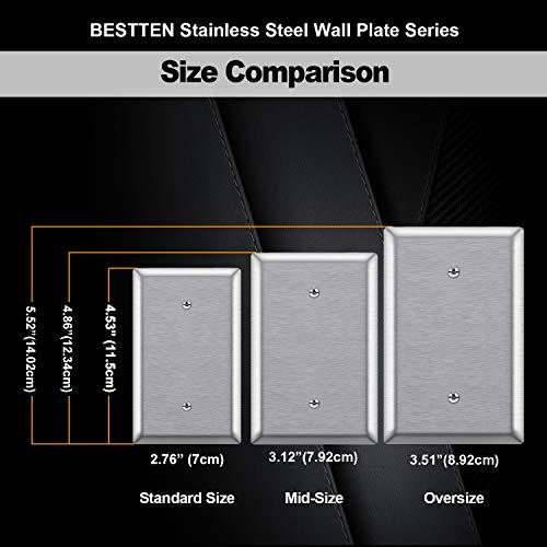 [5 Pack] BESTTEN 1-Gang Mid-Size No Device Blank Metal Wall Plate, Anti-Corrosion Stainless Steel Outlet Cover, Screw Included, Silver, UL Listed