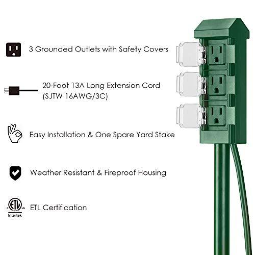 BESTTEN 20ft Cord 3-Outlet Outdoor Power Stake, Weatherproof Power Strip with Long Extension Cord and Individual Protective Outlet Covers, 13A/125V/1625W, cETL Certified, Green