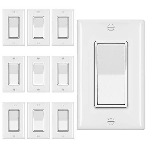[10 Pack] BESTTEN 3-Way Decorator Wall Light Switch with Wall Plate, 15A 120V, On/Off Paddle Rocker Interrupter, UL Listed, White