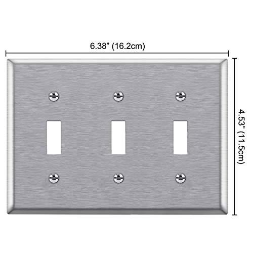 "BESTTEN 3 Gang Toggle Light Switch Metal Wall Plate, Standard Size 4.5"" x 6.375"" Stainless Steel Cover, Silver"