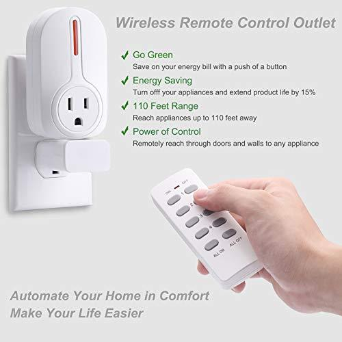 BESTTEN Wireless Remote Control Outlet Switch Set (4 Outlets, 2 Remotes) with 110 Foot Range, Home Automation Set, ETL Listed, 18 Month Warranty, White