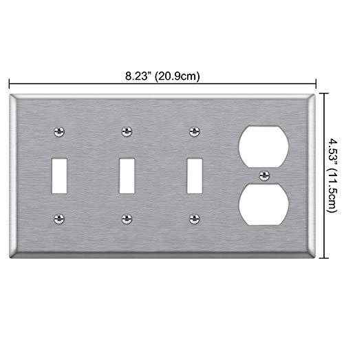[2 Pack] BESTTEN 4-Gang Combination Metal Wall Plate, 1-Duplex/3-Toggle, Standard Size, Anti-Corrosion 430 Stainless Steel Outlet and Switch Cover, UL Listed, Silver