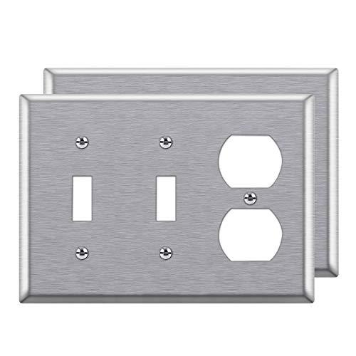 [2 Pack] BESTTEN 3-Gang Combination Metal Wall Plate, 1-Duplex/2-Toggle, Standard Size, Anti-Corrosion 430 Stainless Steel Outlet and Switch Cover, UL Listed, Silver