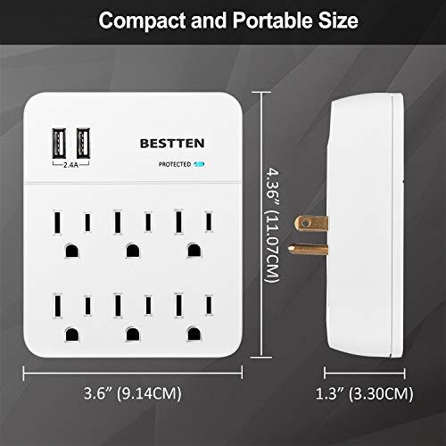 [2 Pack] BESTTEN 6-Outlet Wall Surge Protector with 2 USB Charging Ports (5V/2.4A), ETL/cETL Certified, White