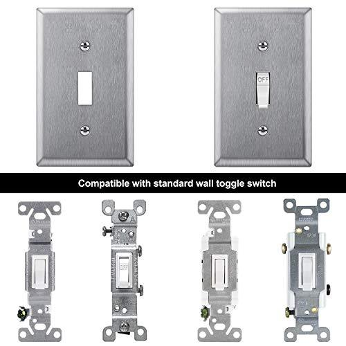 [10 Pack] BESTTEN Toggle Switch Metal Wall Plate, 1 Gang Standard Stainless Steel Switch Cover, Durable Corrosion Resistant Industrial Grade 304SS Material, Silver