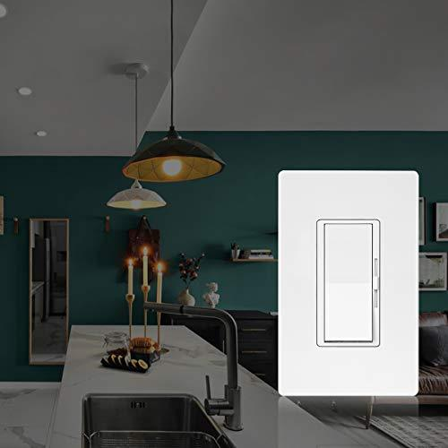 BESTTEN Dimmer Light Switch, Single Pole or 3 Way, for Dimmable LED Lights, CFL, Incandescent, Halogen Bulbs, Precise Lighting Control, Screwless Wallplate Included, UL Listed, White