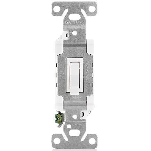 [10 Pack] BESTTEN Toggle Light Switch with Wall Plate, 15 Amp 120/277 Volt, 3 Way & Single Pole, for Commercial and Residential Use, UL Listed, White