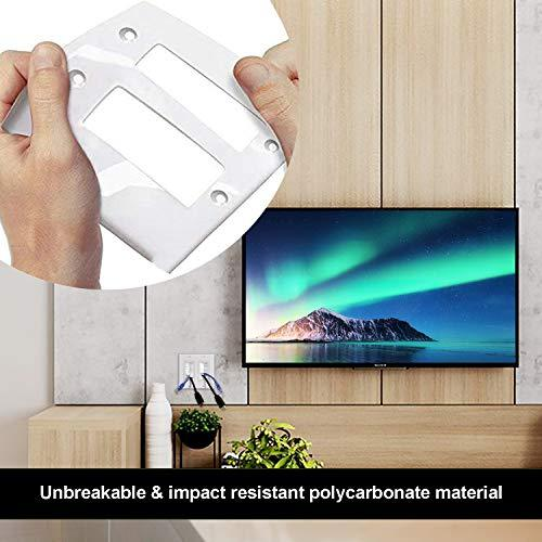 [2 Pack] BESTTEN 2-Gang Brush Wall Plate with Old Work Low Voltage Mounting Bracket, Cable Passthrough Insert for Speaker Wire, Coaxial Cable, HDMI/HDTV Cable, Network/Phone Cable, White