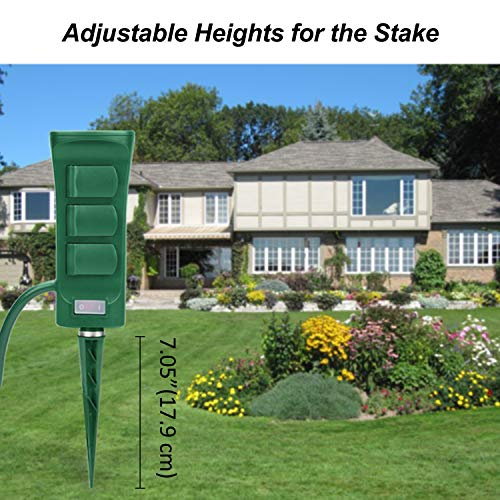 BESTTEN Outdoor Power Stake with 6 Outlets and 9 Foot Heavy Duty Extension Cord, Outdoor Power Strip with Overload Protection Switch and Weatherproof Protective Covers, Double Sided Design, cETL Listed, Green