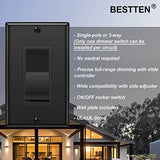 [10 Pack] BESTTEN Dimmer Wall Light Switch, Single-Pole or 3-Way, 120VAC, for Dimmable LED, CFL, Halogen and Incandescent Bulb, cUL Listed, Black