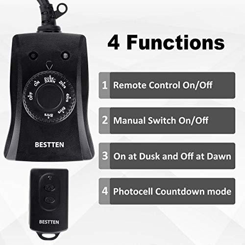 BESTTEN Outdoor Timer Outlet with Dusk to Dawn Photocell Light Sensor, Countdown Timer with 2 Grounded Outlets, ETL/cETL and FCC Certified, Black