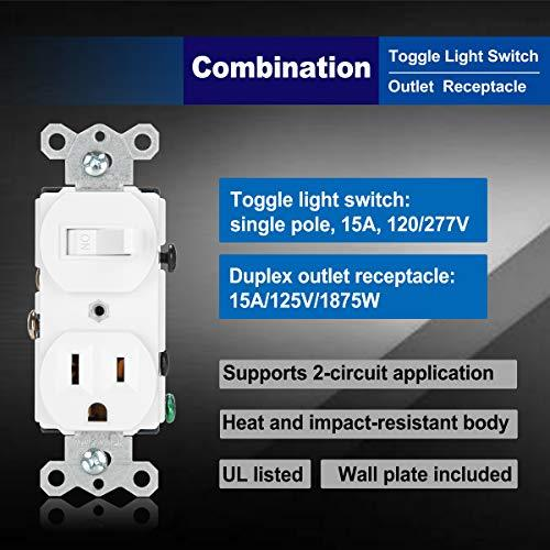 [2 Pack] BESTTEN Combination Toggle Light Switch and Duplex Receptacle Outlet, Single Pole Toggle Wall Switch, Grounded Outlet, Two-in-One Design, 15 Amp, cUL Listed, White