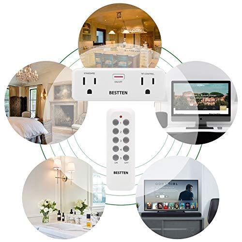 BESTTEN Wireless Remote Control Outlet Combo, 1 Standard and 1 RF Control, 15A/125V/1875W, Manual On/Off Switch with Indicator, White