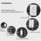 [10 Pack] BESTTEN 15Amp Decorator Receptacle Outlet with Screwless Wall Plate, Tamper Resistant, for Commercial and Residential Use, UL Listed, White