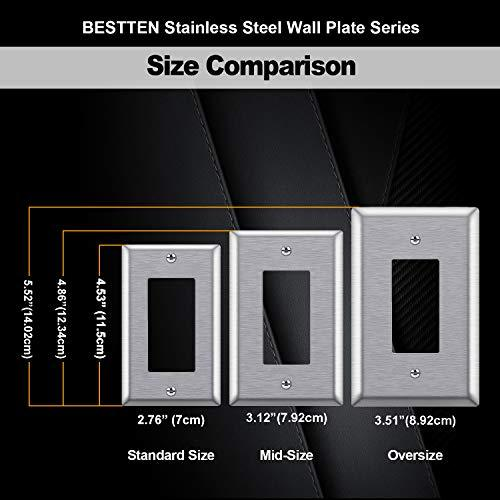[5 Pack] BESTTEN 1-Gang Mid-Size Decorator Receptacle Metal Wall Plate, Anti-Corrosion Stainless Steel Outlet and Switch Cover, Silver, UL Listed