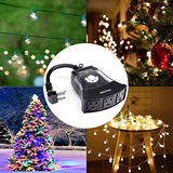 BESTTEN [2 Pack] Outdoor 24-Hour Timer, 3 Grounded Outlets, 6-Inch Power Cord, Flat Plug, Heavy Duty, Weatherproof, for Thanksgiving, Christmas and Other Holiday Decorations, ETL Certified, Black