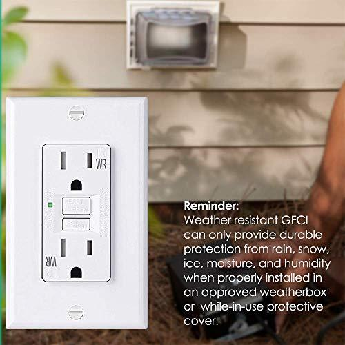 [10 Pack] BESTTEN 15A Self-Test WR GFCI Outlet, Slim Design, Weather Resistant and Tamper Resistant Receptacle with LED Indicator, Wallplate Included, White