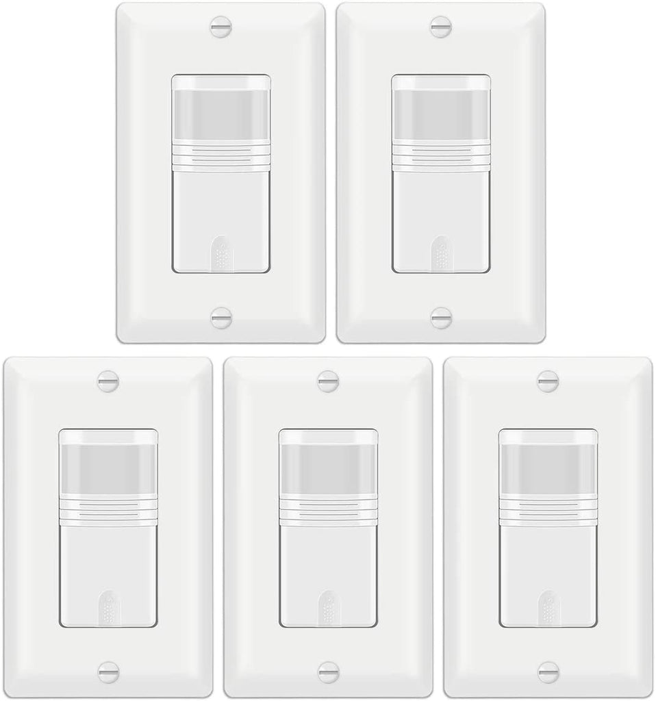 [1/5/10 Pack] BESTTEN Motion Sensor Light Switch, PIR Vacancy & Occupancy, 800W 1/6 HP, 120/277V, Single Pole, Neutral Wire Required, Wall Plate Included, cUL Listed, White