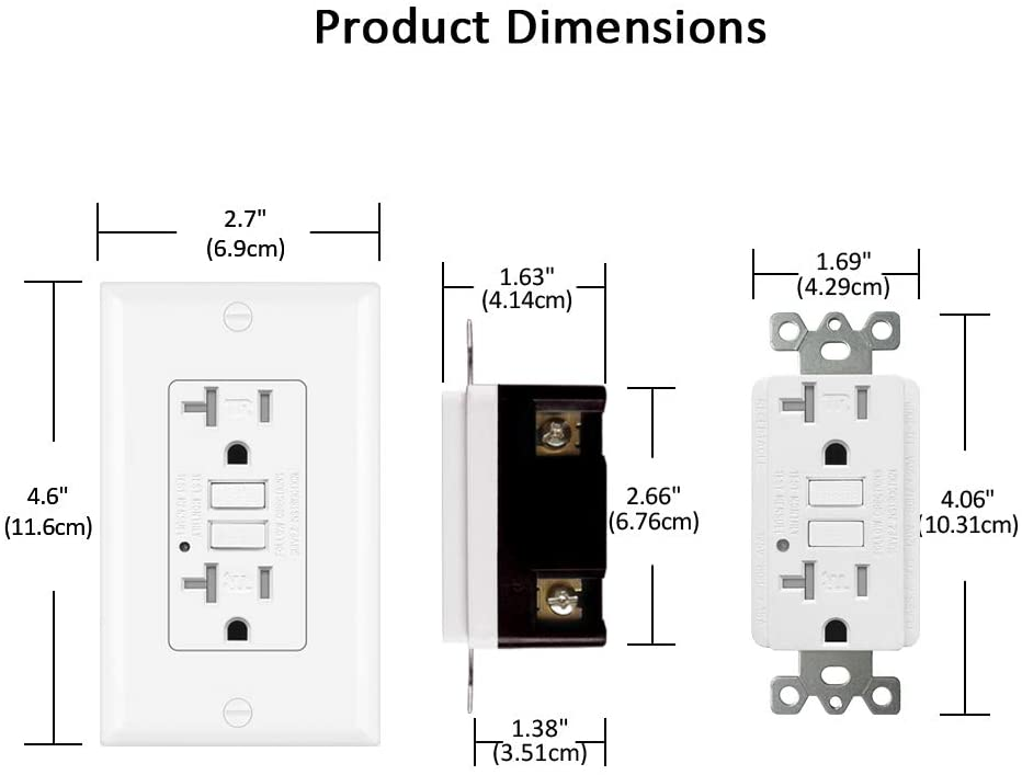 BESTTEN 20 Amp GFCI Outlet, Tamper-Resistant Receptacle with LED Indicator, Wallplate Included, ETL Certified (10 Pack)